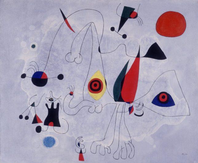 Joan Miró, Femme et oiseaux au lever du soleil, 1946