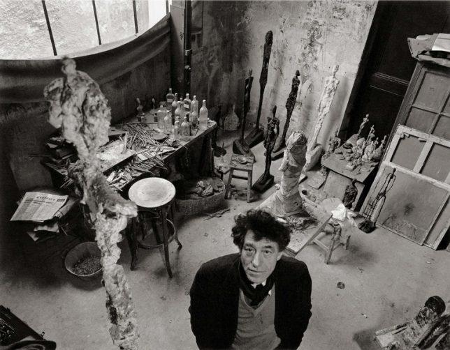 Photograph of Alberto Giacometti in his studio by Robert Doisneau, 1957