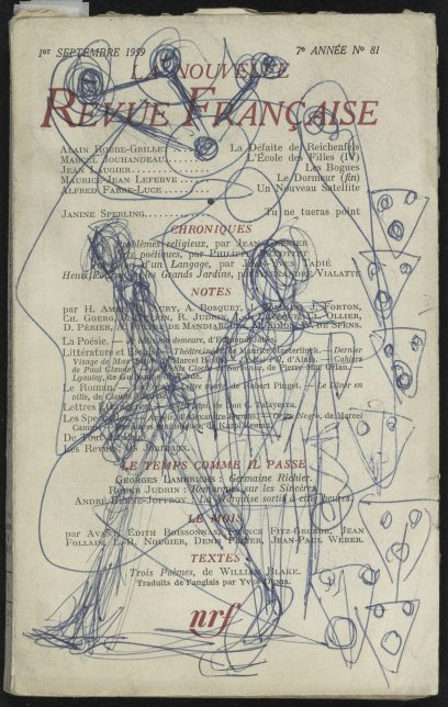 Alberto Giacometti, Ballpoint pen drawing on the cover of La Nouvelle Revue Française n°81, 1959
