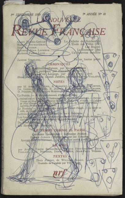 Alberto Giacometti, Dessin au stylo bille sur couverture de La Nouvelle Revue Française n°81, 1959