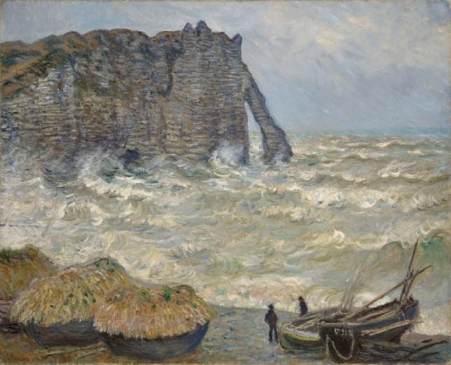 Peinture de paysage de mer Claude Monet Mer agitée à Étretat