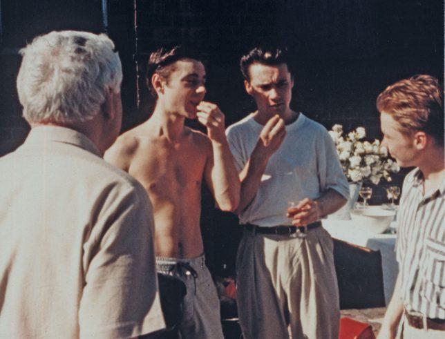Photographie prise lors de la fête d'ouverture pour la « Freeze », avec Richard Patterson (à gauche) et Damien Hirst (à droite).