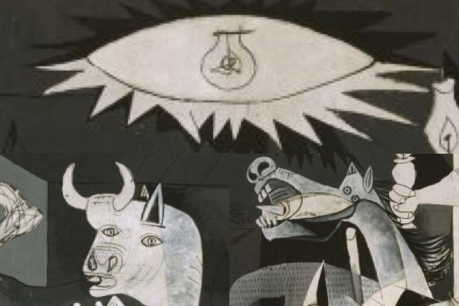 Pablo Picasso Guernica, Close-Up of the Light bulb, Horse and Bull