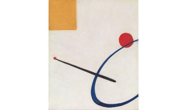 Peinture abstraite sans titre, 1930, réalisé après sa rencontre avec Piet Mondrian