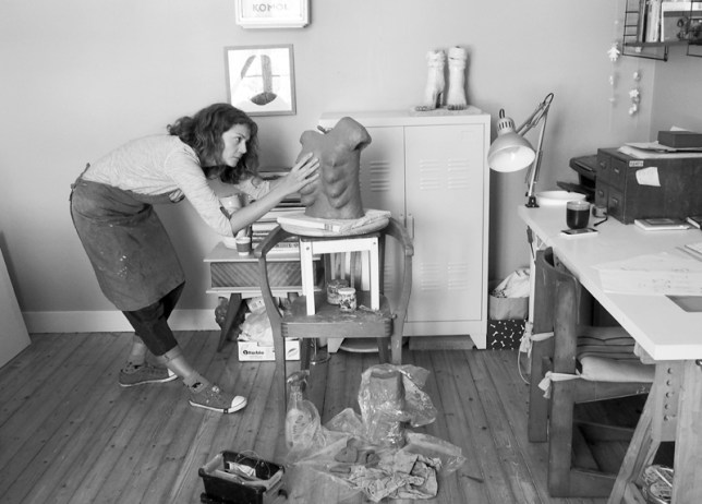 Kostanek at work in her studio