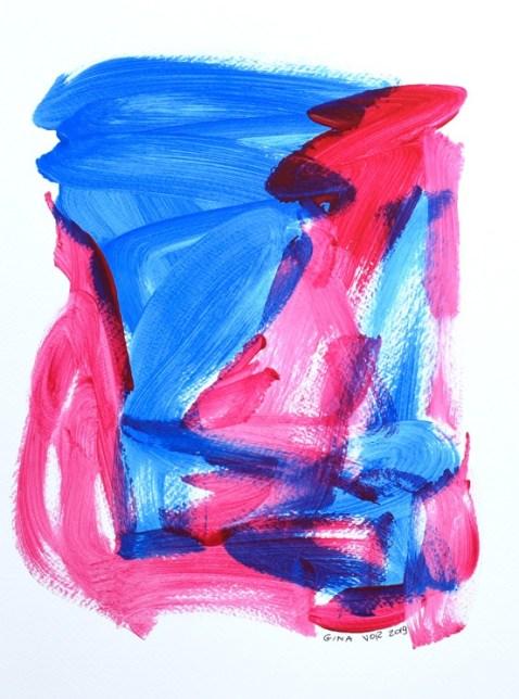 Gina Vor, Sky and Cherries 1, Abstrait Minimaliste