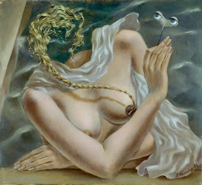 Dorothea Tanning, Voltage, 1942, comme montré à l'exposition « Fantastic Women - Surreal Worlds from Meret Oppenheim to Frida Kahlo »