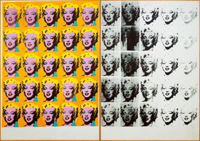 Marilyn Diptych on display at the Andy Warhol exhibition
