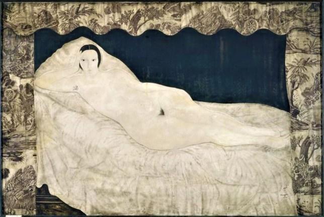 Reclining Nude with Toile de Jouy, Léonard Foujita, 1922