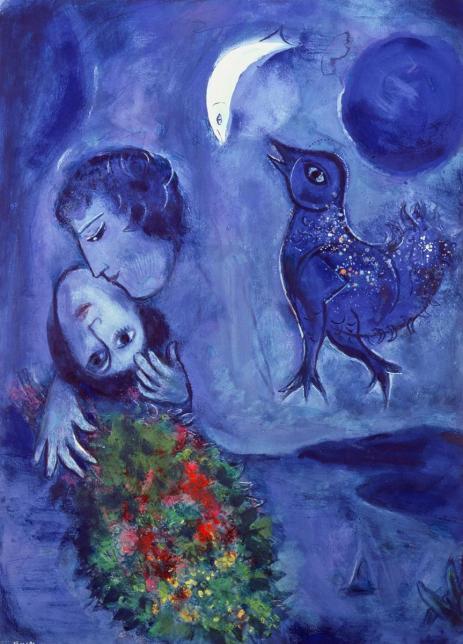 Peinture onirique Marc Chagall Le paysage bleu