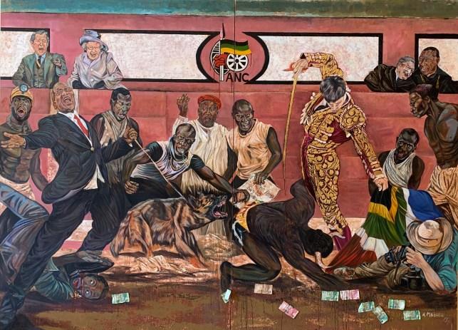 Art africain Ayanda Mabulu Afrique Peinture satire