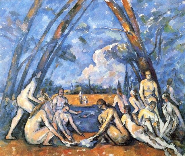 Les Baigneuses, Paul Cézanne, peinture de nu de femme, couleurs, abstraction