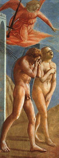 Masaccio, Adam et Eve chassés de l'Eden, Italie, fresque, nu de femme, peinture