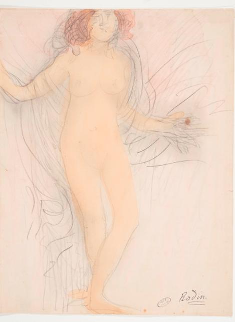 Auguste Rodin, Femme nue debout, de face (aquarelle et crayon sur papier)