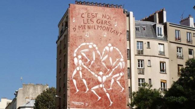 Peinture murale de Jérôme Mesnager, rue Ménilmontant à Paris