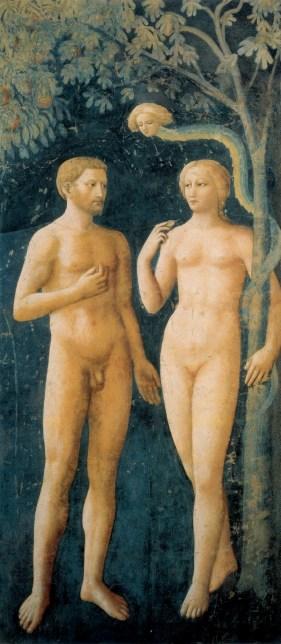 Le péché originel, Masolino, Italie, Adam et Eve, serpent, l'Eden, peinture de nu