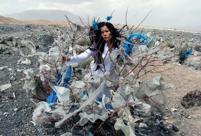 Aida Sulova, Once Upon a Plastic Bag, 2012 - environmental art