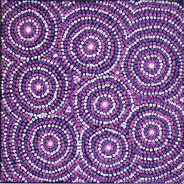Aboriginal art: Teranie Williams Nangala, Wanakiji Jukurrpa - Bush Tomato Dreaming, 2018