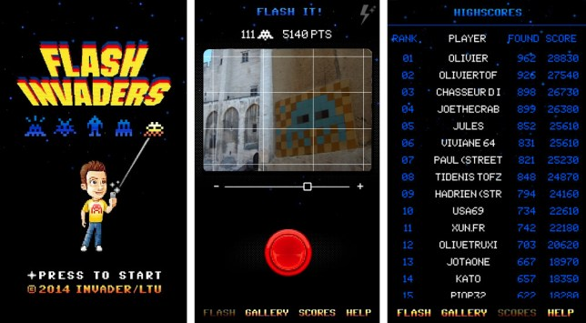 Interface of the Flash Invader application developed by the artist, source: GamerStuff.fr