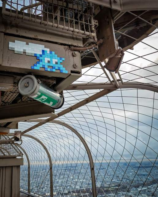 Invader at the top of the Eiffel Tower, source: Instagram page @invaderwashere