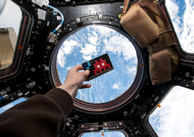 Invader at the space station ISS, source: space-invaders.com