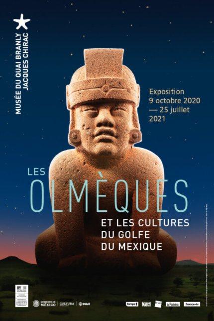 Affiche de l'exposition du Musée du Quai Branly sur les Olmèques