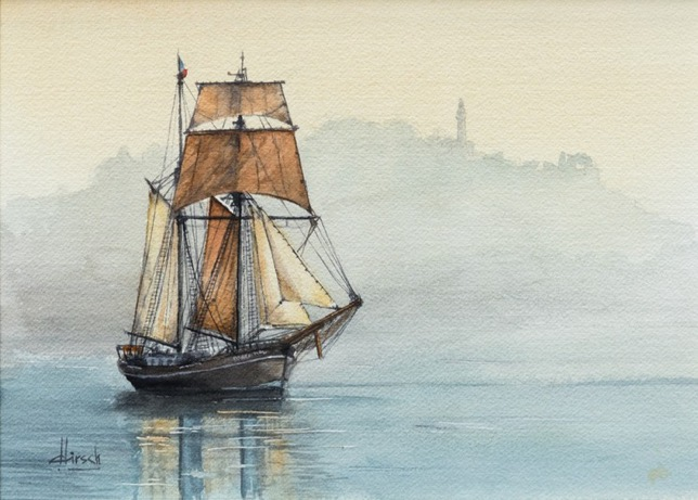 aquarelle bateau Roger Hirsch,