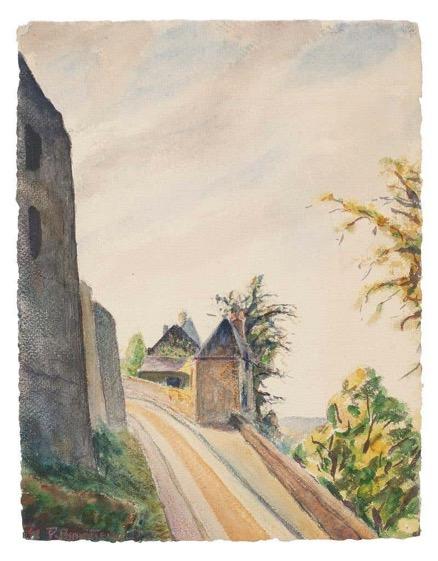 Watercolor painted by André Roland, Landscape