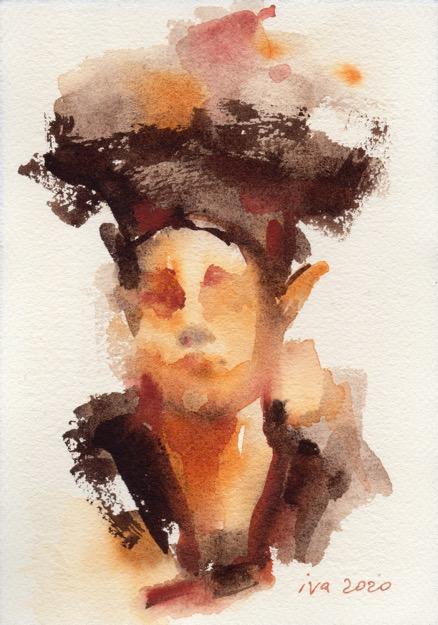 brown watercolor Tatiana Ivchenkova