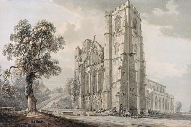 Paul Sandby, Cathédrale de Llandaff, aquarelle