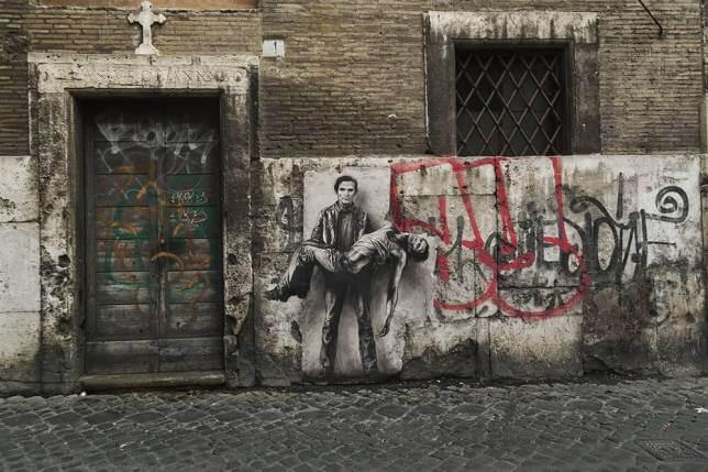 Ernest Pignon Ernest, Portrait of Pier Paolo Pasolini in the streets of Naples, optical illusions