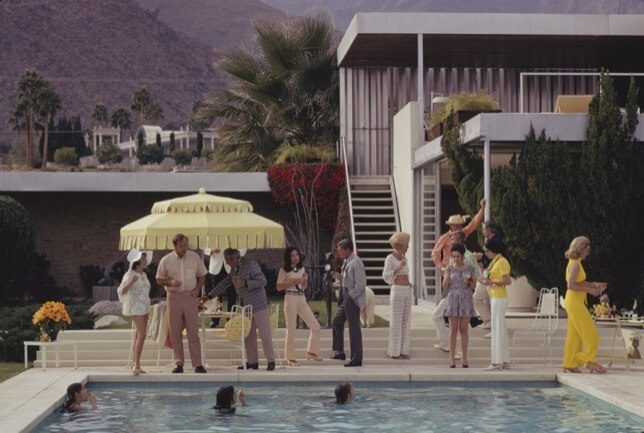 Slim Aarons, Poolside Party, 2020 famous pools depictions in art