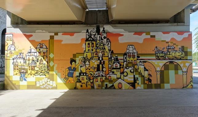 Street art d'UNA VIDA sur le Canal Saint-Denis, Paris