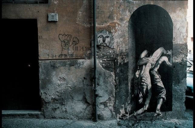 Ernest Pignon Ernest, Naples, optical illusions