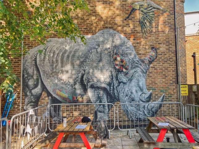 Rhino street art by Louis Masai, pub Duke of Edinburgh