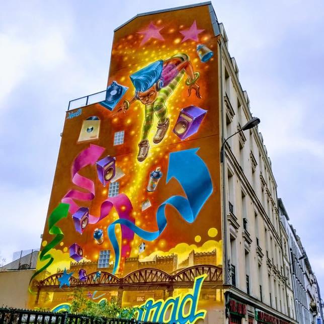 Une fresque de Yann Lazoo à côté du métro Stalingrad