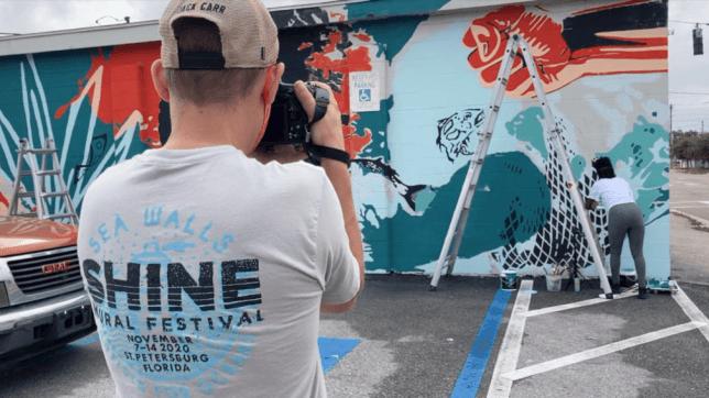 Fresque murale de Nneka Jones et Bianca Burrows, SHINE Mural Festival, Floride, street art