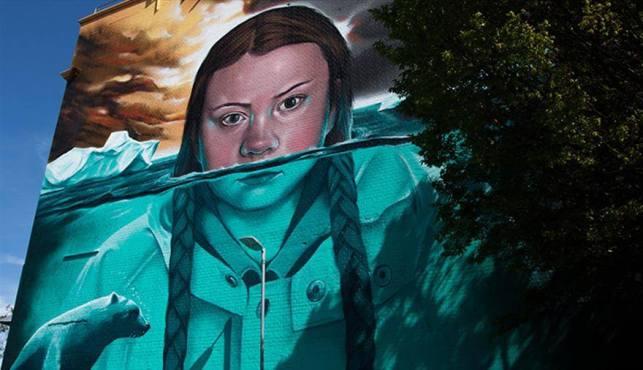 Murale de Greta Thunberg par Jody, Upfest, Bristol, street art