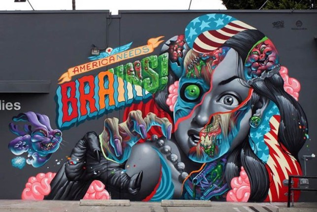 """""""America Needs Brains' mural"""" by Tristan Eaton in Culver City, California"""