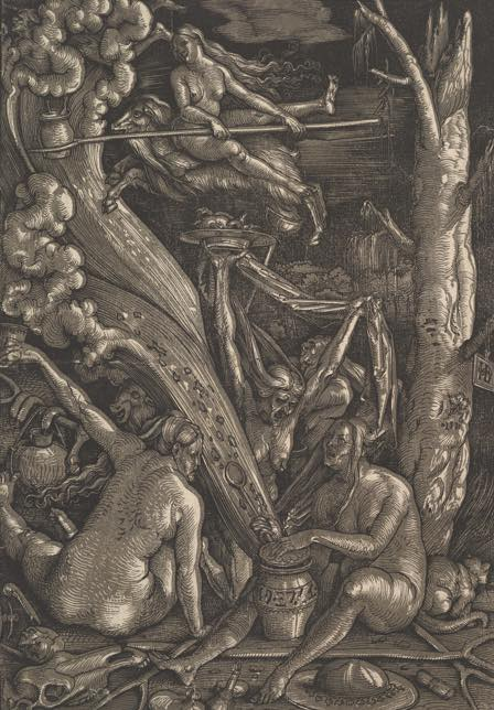 """Witch Art, """"The Witches' Sabbath"""" painted by Hans Buldung in 1510"""