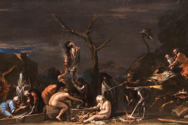 """Des sorcières dans """"Witches at their Incantations"""" de Salvator Rosa, 1646"""